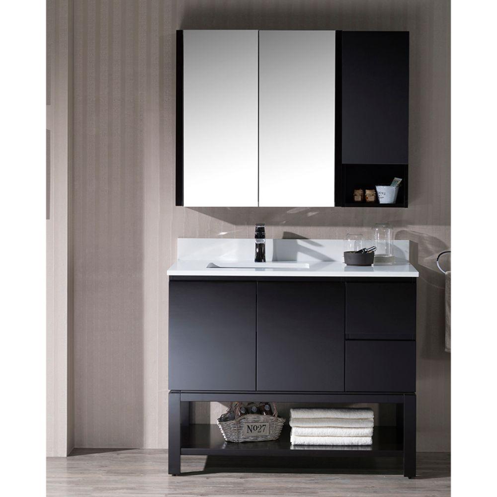 "Monaco Modern 42"" Espresso Left Bathroom Vanity Set with Mirror, Wall Cabinet and Wood Legs"