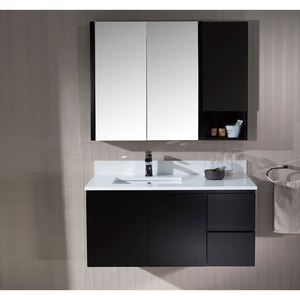 "Monaco Modern 42"" Espresso Wall Mount Left Bathroom Vanity Set with Mirror and Wall Cabinet"