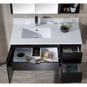 "Monaco Modern 42"" Espresso Wall Mount Left Bathroom Vanity Set with Mirror and Wall Cabinet"
