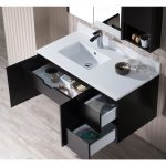 Monaco Modern 42″ Espresso Wall Mount Left Bathroom Vanity Set with Mirror, Medicine & Wall Cabinet