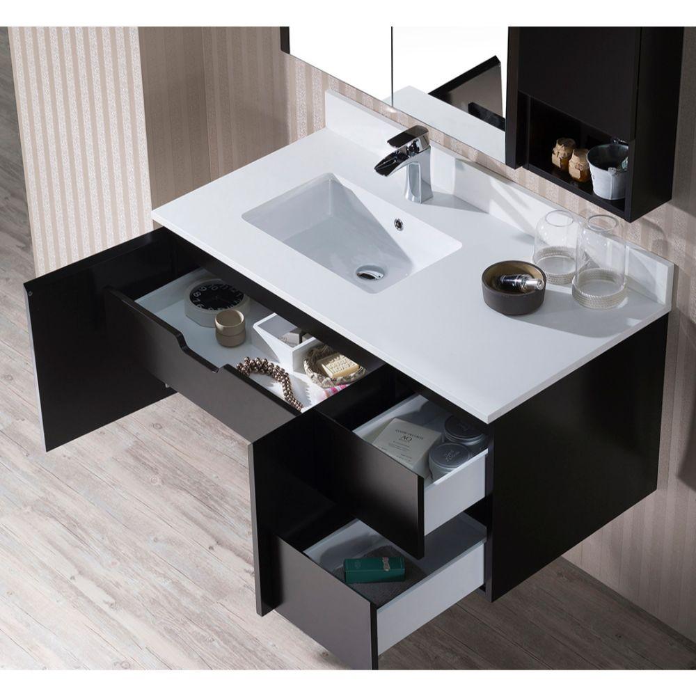 """Monaco Modern 42"""" Espresso Wall Mount Left Bathroom Vanity Set with Mirror, Medicine & Wall Cabinet"""