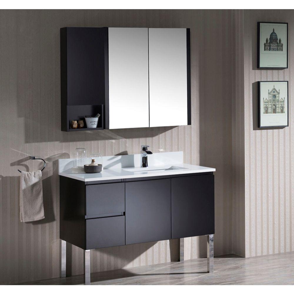 "Monaco Modern 42"" Espresso Right Bathroom Vanity Set with Mirror, Medicine & Wall Cabinet and Chrome Legs"