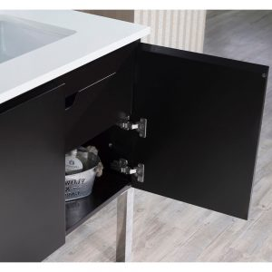 "Monaco Modern 42"" Espresso Right Bathroom Vanity Set with Mirror, Medicine & Wall Cabinet and Chrome Legs"