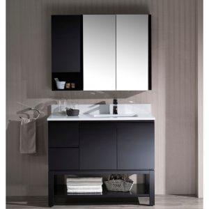 "Monaco Modern 42"" Espresso Right Bathroom Vanity Set with Mirror, Wall Cabinet and Wood Legs"