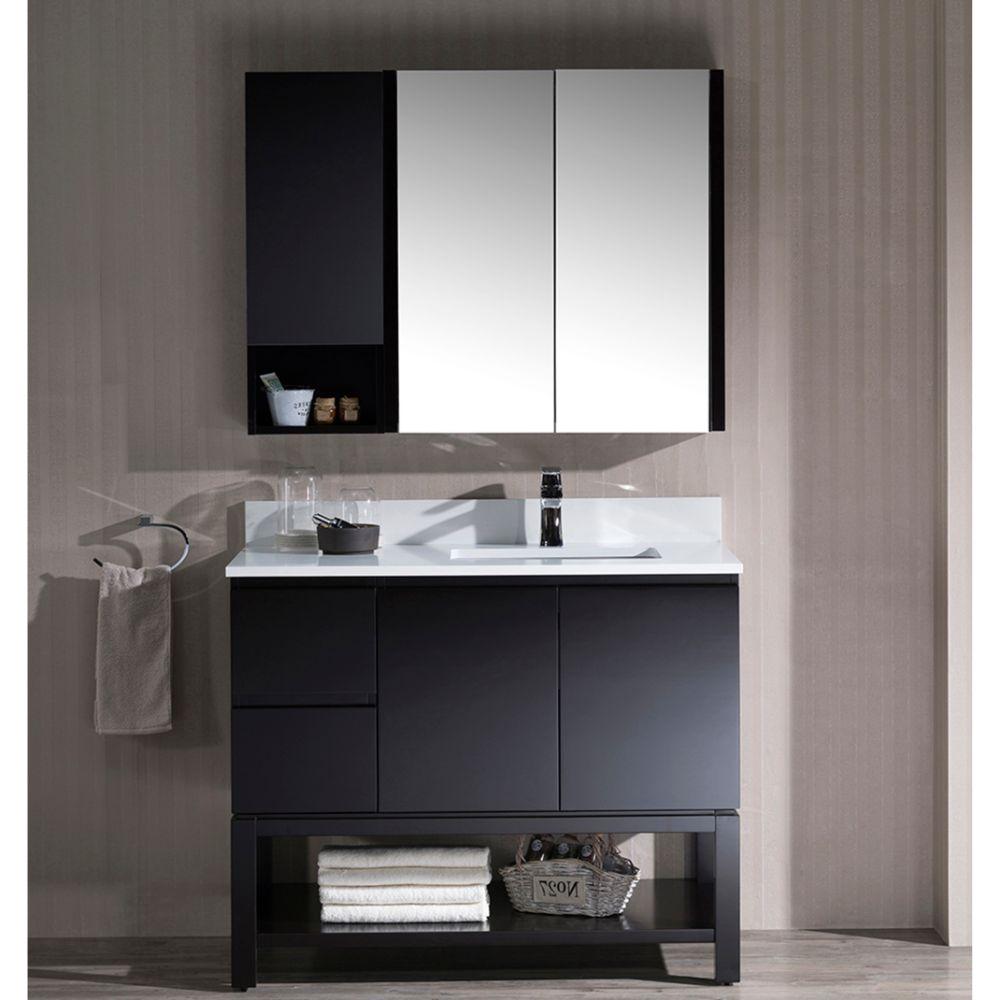 "Monaco Modern 42"" Espresso Right Bathroom Vanity Set with Mirror, Wall Cabinet and Wood Legs"