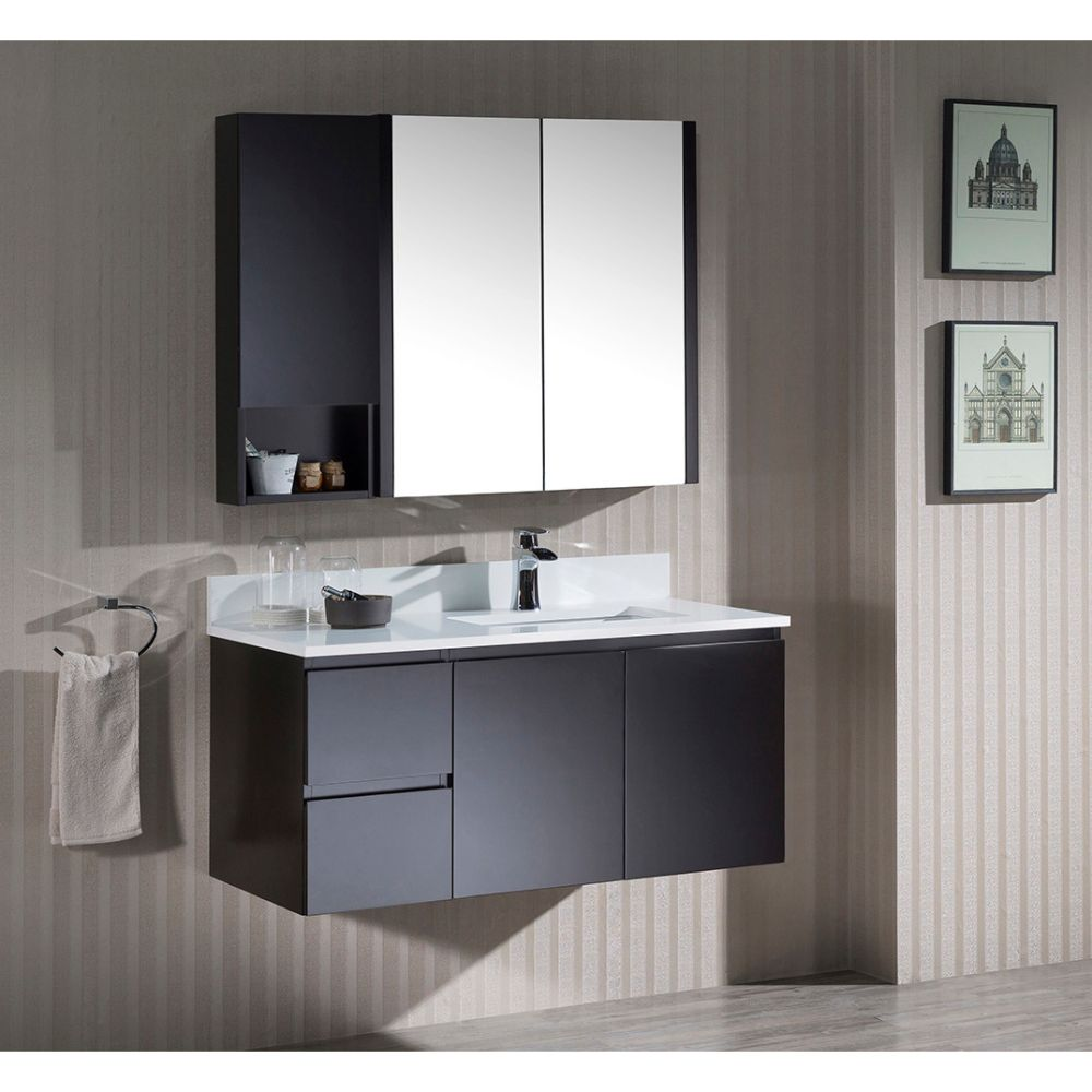 "Monaco Modern 42"" Espresso Wall Mount Right Bathroom Vanity Set with Mirror and Wall Cabinet"