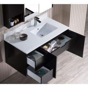 """Monaco Modern 42"""" Espresso Wall Mount Right Bathroom Vanity Set with Mirror and Wall Cabinet"""