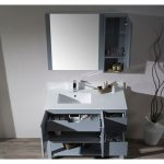 Monaco Modern 42″ Metal Gray Left Bathroom Vanity Set with Mirror, Medicine & Wall Cabinet and Wood Legs