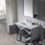 Monaco Modern 42″ Metal Gray Left Bathroom Vanity Set with Mirror, Wall Cabinet and Wood Legs
