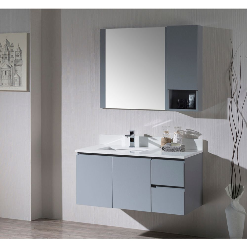 "Monaco Modern 42"" Metal Gray Wall Mount Left Bathroom Vanity Set with Mirror and Wall Cabinet"