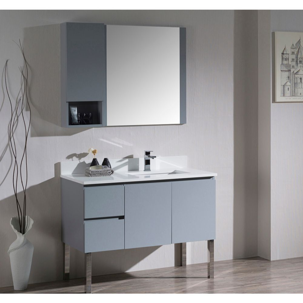 """Monaco Modern 42"""" Metal Gray Right Bathroom Vanity Set with Mirror, Wall Cabinet and Chrome Legs"""