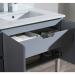 Monaco Modern 42″ Metal Gray Right Bathroom Vanity Set with Mirror, Wall Cabinet and Chrome Legs