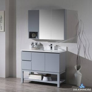 "Monaco Modern 42"" Metal Gray Right Bathroom Vanity Set with Mirror, Medicine & Wall Cabinet and Wood Legs"