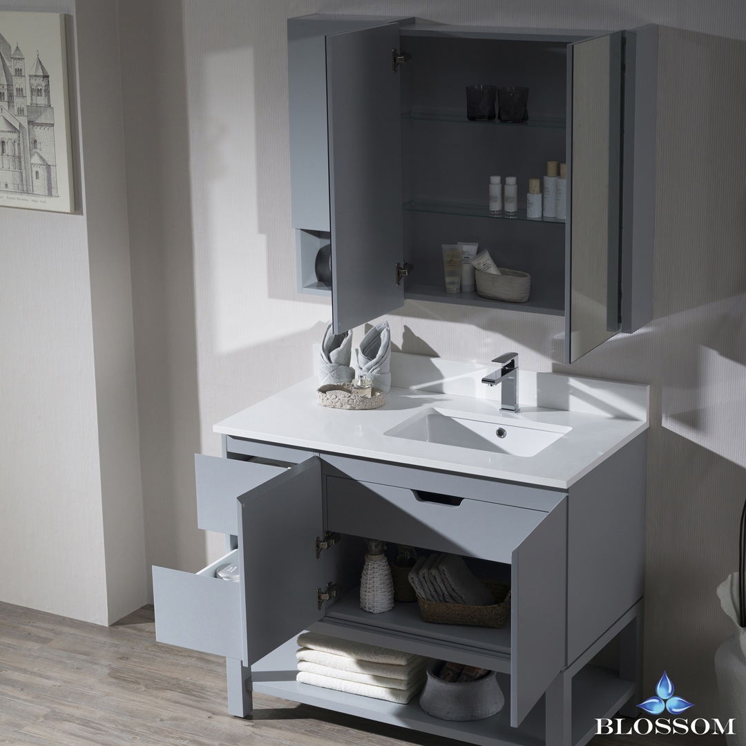 "Monaco Modern 42"" Metal Gray Right Bathroom Vanity Set with Mirror, Medicine & Wall Cabinet and Wood Legs"