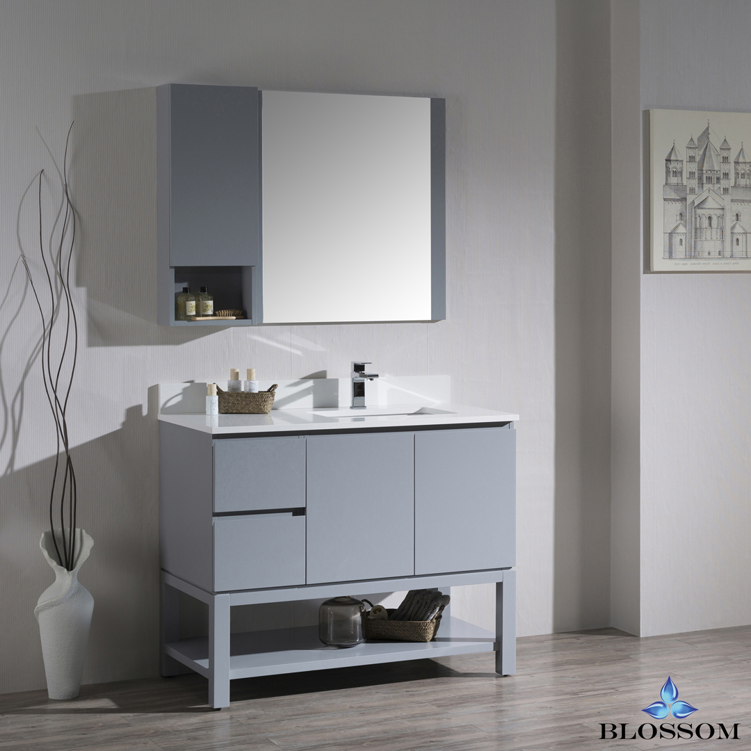 """Monaco Modern 42"""" Metal Gray Right Bathroom Vanity Set with Mirror, Wall Cabinet and Wood Legs"""