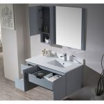 Monaco Modern 42″ Metal Gray Wall Mount Right Bathroom Vanity Set with Mirror and Wall Cabinet