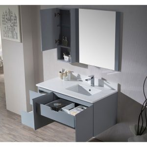 "Monaco Modern 42"" Metal Gray Wall Mount Right Bathroom Vanity Set with Mirror and Wall Cabinet"