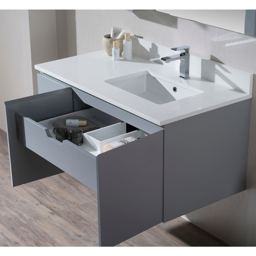 """Monaco Modern 42"""" Metal Gray Wall Mount Right Bathroom Vanity Set with Mirror and Wall Cabinet"""