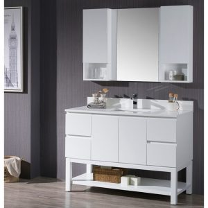 "Monaco Modern 48"" Matte White Bathroom Vanity Set with Mirror and Wall Cabinets"