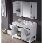 Monaco Modern 48″ Matte White Bathroom Vanity Set with Mirror and Wall Cabinets