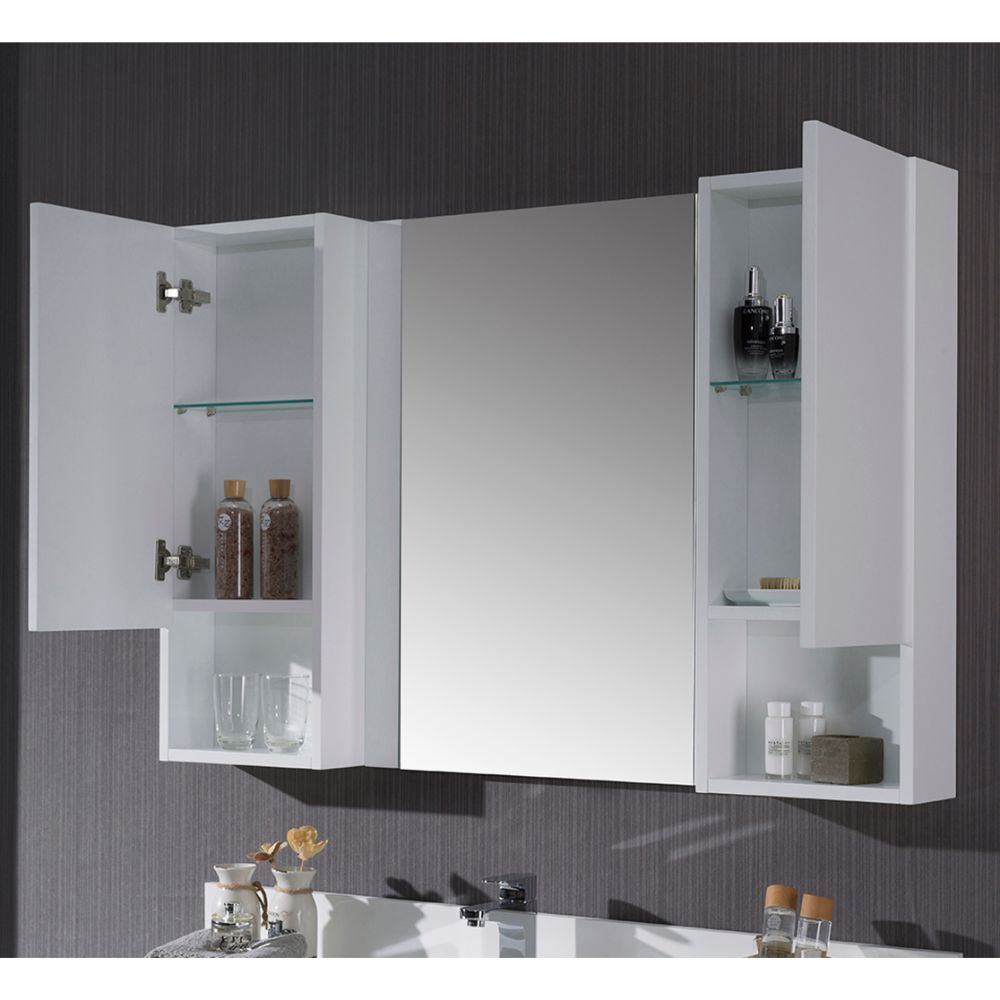 """Monaco Modern 48"""" Matte White Bathroom Vanity Set with Mirror and Wall Cabinets"""