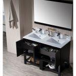 Monaco Modern 48″ Espresso Double Bathroom Vanity Set with Mirror