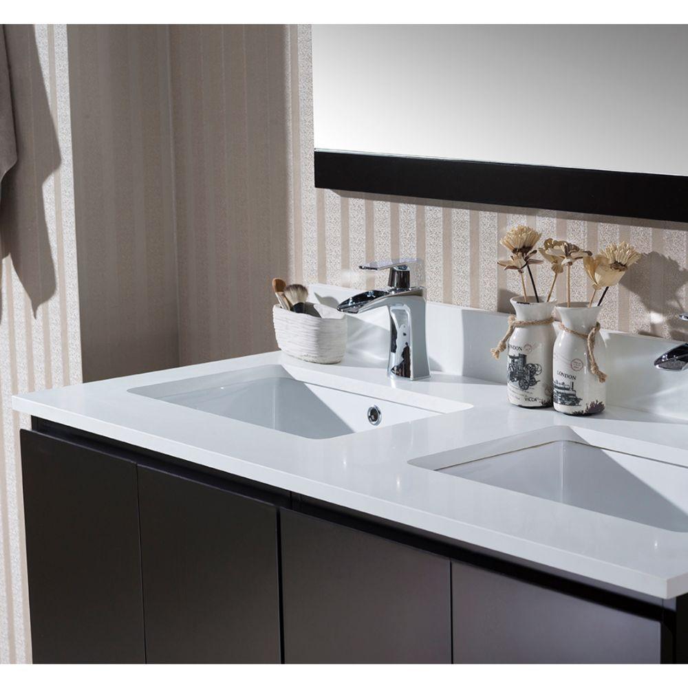 "Monaco Modern 48"" Espresso Double Bathroom Vanity Set with Mirror"