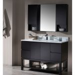 Monaco Modern 48″ Espresso Bathroom Vanity Set with Mirror and Wall Cabinets