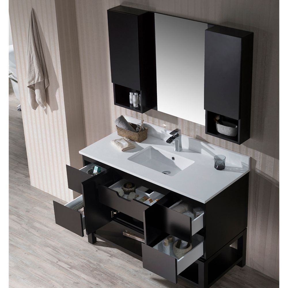 "Monaco Modern 48"" Espresso Bathroom Vanity Set with Mirror and Wall Cabinets"