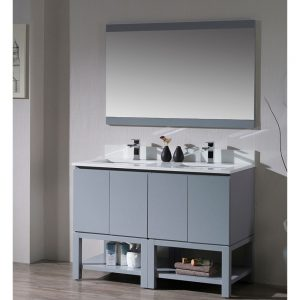 "Monaco Modern 48"" Metal Gray Double Bathroom Vanity Set with Mirror"