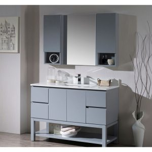 "Monaco Modern 48"" Metal Gray Bathroom Vanity Set with Mirror and Wall Cabinets"