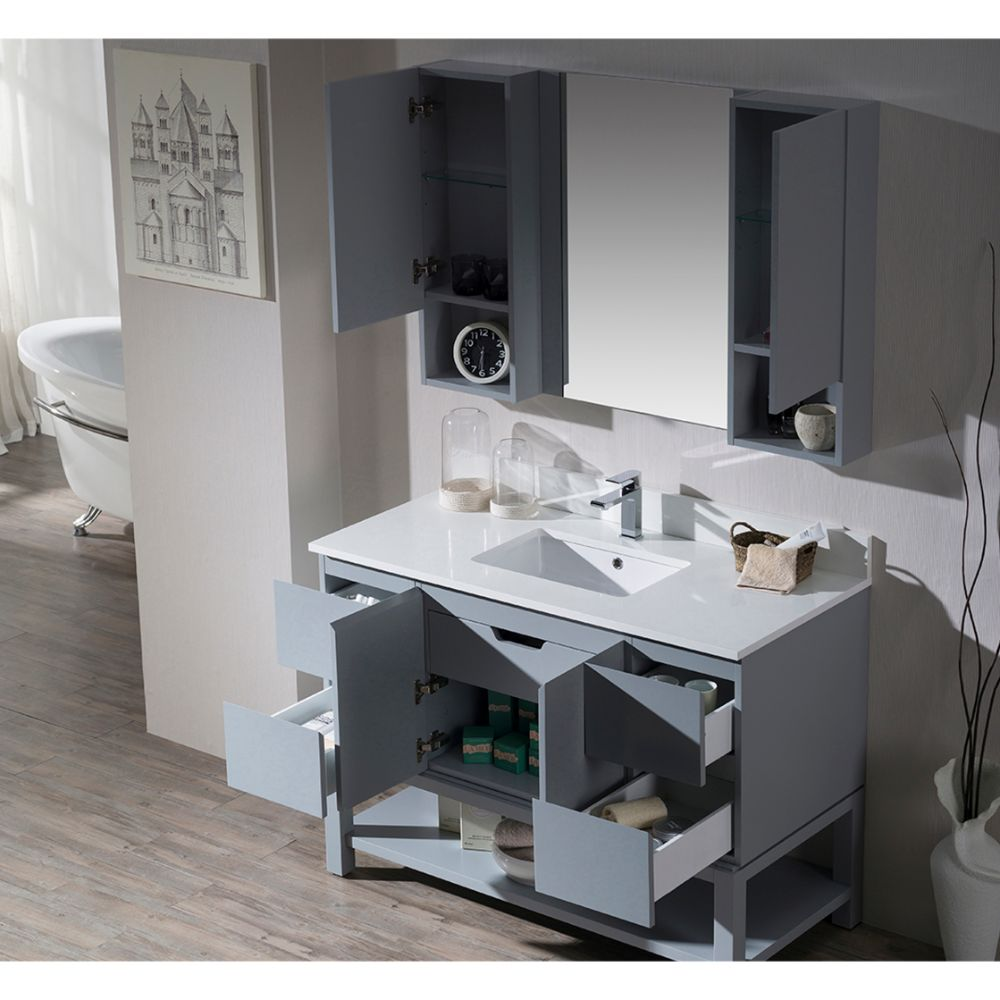 "Monaco Modern 48"" Metal Gray Bathroom Vanity Set with Mirror and Wall Cabinets"