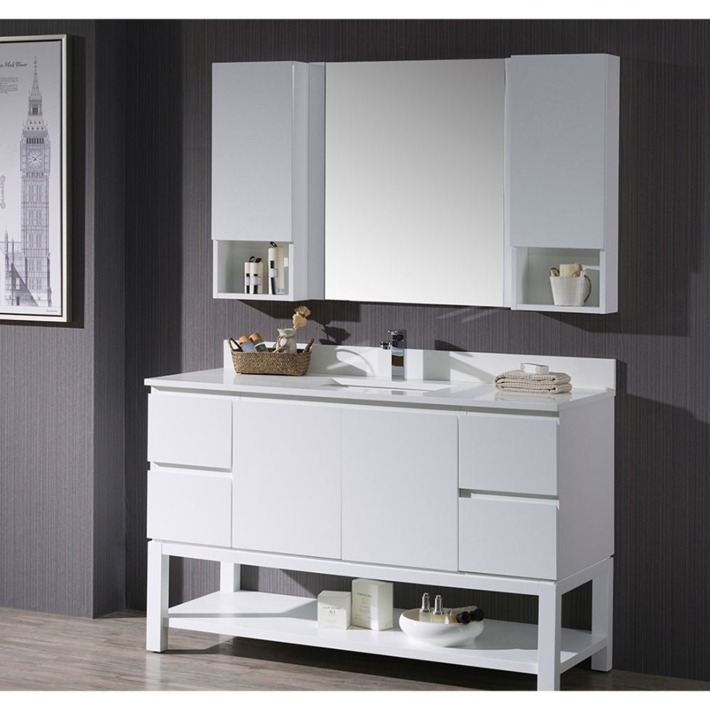 """Monaco Modern 54"""" Matte White Bathroom Vanity Set with Mirror and Wall Cabinets"""