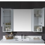 Monaco Modern 54″ Matte White Bathroom Vanity Set with Mirror and Wall Cabinets