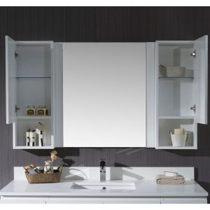 "Monaco Modern 54"" Matte White Bathroom Vanity Set with Mirror and Wall Cabinets"