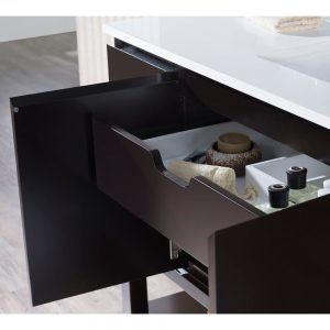 "Monaco Modern 54"" Espresso Bathroom Vanity Set with Mirror and Wall Cabinets"