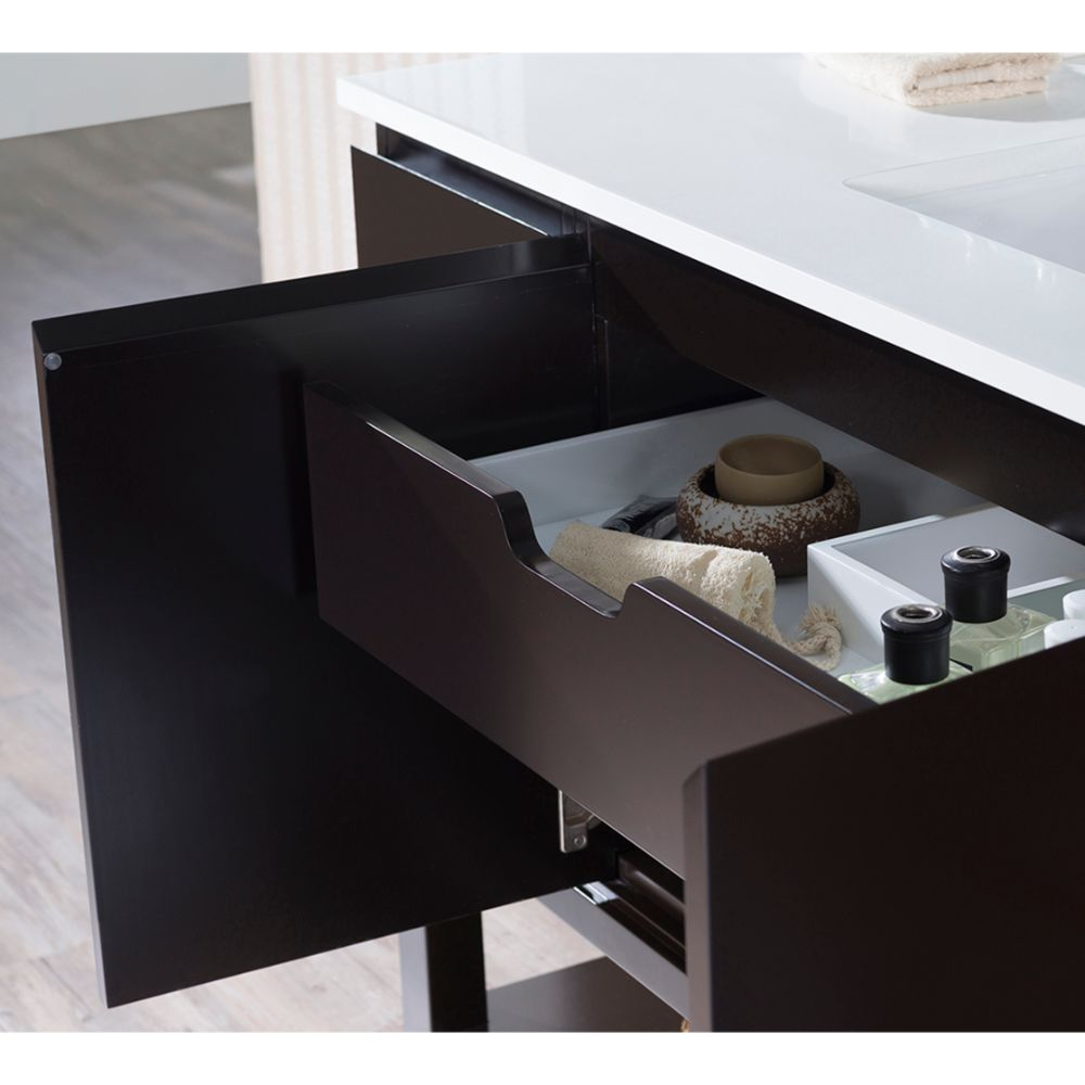 "Monaco Modern 54"" Espresso Bathroom Vanity Set with Mirror and Wall Cabinets"