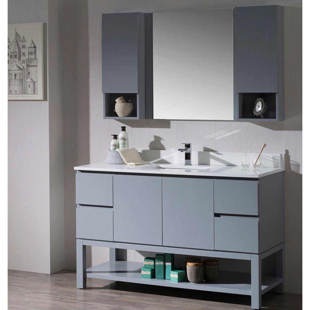 "Monaco Modern 54"" Metal Gray Bathroom Vanity Set with Mirror and Wall Cabinets"