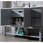 Monaco Modern 54″ Metal Gray Bathroom Vanity Set with Mirror and Wall Cabinets