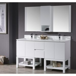 "Monaco Modern 60"" Matte White Double 24 Bathroom Vanity Set with Mirror and Wall Cabinet"