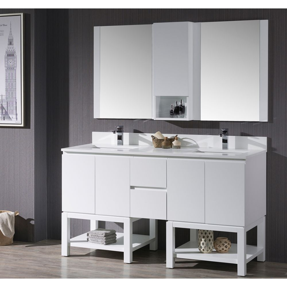 """Monaco Modern 60"""" Matte White Double 24 Bathroom Vanity Set with Mirror and Wall Cabinet"""