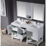 Monaco Modern 60″ Matte White Double 24 Bathroom Vanity Set with Mirror and Wall Cabinet