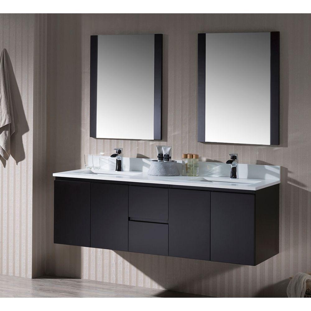 "Monaco Modern 60"" Espresso Double 24 Wall Mount Bathroom Vanity Set with Mirror"