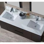 Monaco Modern 60″ Espresso Double 24 Wall Mount Bathroom Vanity Set with Mirror