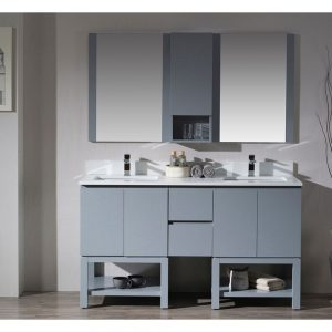 "Monaco Modern 60"" Metal Gray Double 24 Bathroom Vanity Set with Mirror and Wall Cabinet"