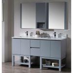 Monaco Modern 60″ Metal Gray Double 24 Bathroom Vanity Set with Mirror and Wall Cabinet