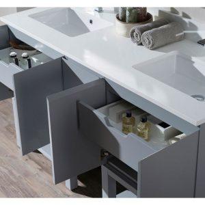 "Monaco Modern 60"" Metal Gray Double 24 Bathroom Vanity Set with Mirror and Wall Cabinet"