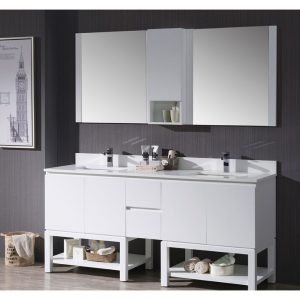 "Monaco Modern 72"" Matte White Double Bathroom Vanity Set with Mirror and Wall Cabinet"