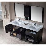 Monaco Modern 72″ Espresso Double Bathroom Vanity Set with Mirror and Wall Cabinet