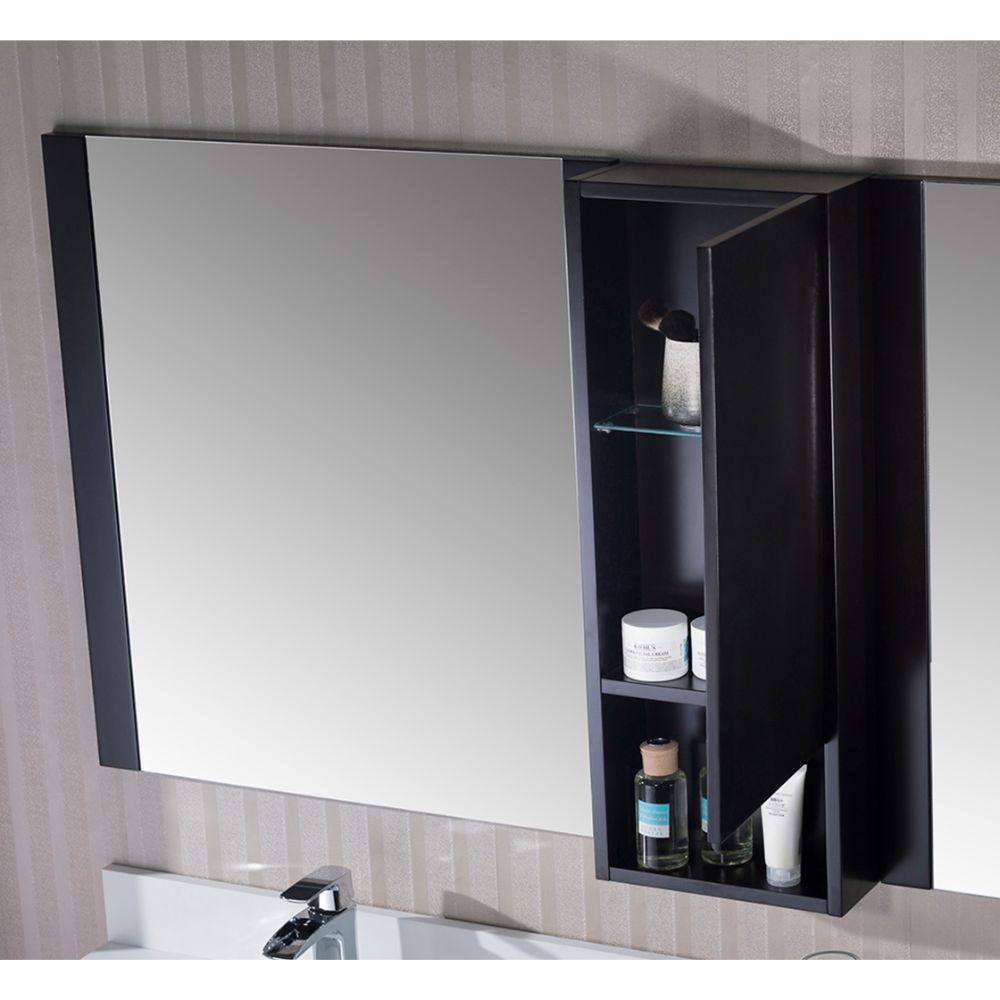 "Monaco Modern 72"" Espresso Double Bathroom Vanity Set with Mirror and Wall Cabinet"